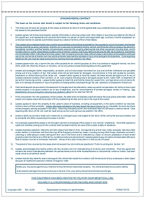 Form 735TDI Trailer Rental Agreement