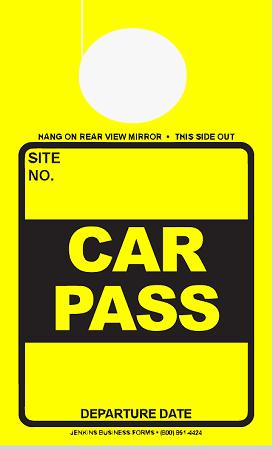 High Visibility Yellow Car Pass