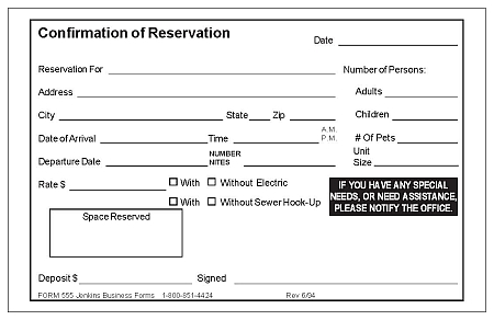 Confirmation Of Reservation