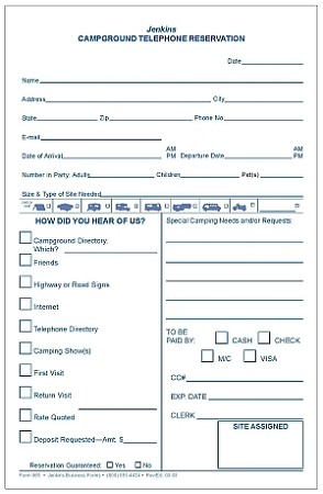 965 Campground Telephone Reservation Request Form