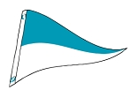 4' x 6' Teal & White Nylon Pennant Flag