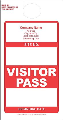 IMPRINTED VISITOR PASSES
