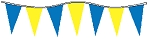 30' Blue & Yellow Alternating 6 Mil Pennants