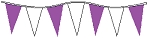 30' Purple & White Alternating 6 Mil Pennants