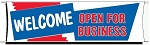 G10-E Welcome Open For Business Banner