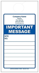 Blue Important Message Door Hanger