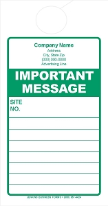 Green Important Message Door Hanger