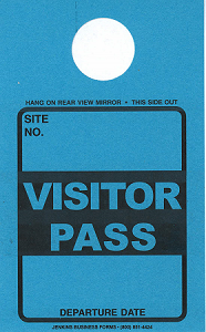 High Visibility Teal Visitor Pass