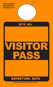 High Visibility Orange Visitor Pass