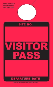High Visibility Red Visitor Pass