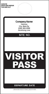 Imprinted Black Visitor Pass