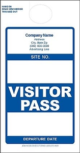 Imprinted Blue Visitor Pass
