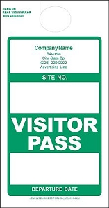 Imprinted Green Visitor Pass