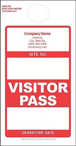 Imprinted Red Visitor Pass
