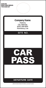 Imprinted Black Car Pass