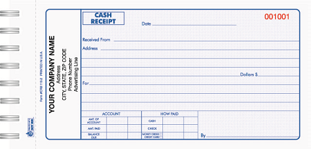 crb 110 cash receipt book
