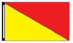 5' x 8' Yellow & Red Diagonal Flag