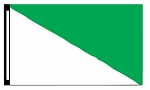 5' x 8' White & Green Diagonal Flag