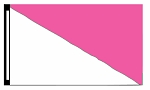3' x 5' White & Magenta Diagonal Flag