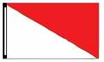 5' x 8' White & Red Diagonal Flag
