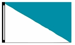 5' x 8' White & Teal Diagonal Flag