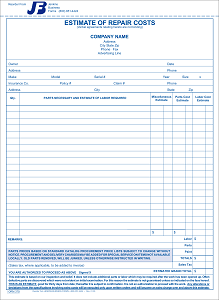 375 Estimate Of Repair Form