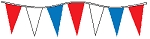 50' Of Red ,White & Blue Alternating Plasticloth Pennants