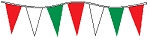 50' Of Red ,White & Green Alternating Plasticloth Pennants