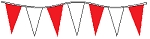 50' Of Red & White Alternating Plasticloth Pennants