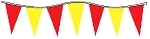 50' Of Red & Yellow Alternating Plasticloth Pennants