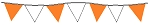 100' String Of Orange & White Alternating Plasticloth Pennants