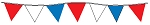 100' String Of Red, White & Blue Alternating Plasticloth Pennants