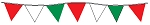 50' String Of Red, White & Green Alternating Plasticloth Pennants