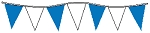 60' String Of Blue & White Alternating Plasticloth Pennants