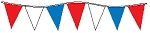 60' String Of Red, White & Blue Alternating Plasticloth Pennants