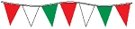 60' String Of Red, White & Green Alternating Plasticloth Pennants