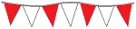 60' String Of Red & White Alternating Plasticloth Pennants