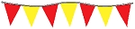 30' Of Red & Yellow Alternating Plasticloth Pennants