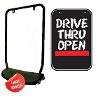 Single Sided Swing Sign Kit - DRIVE THRU OPEN