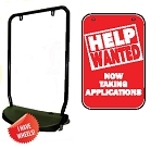 Single Sided Swing Sign Kit - HELP WANTED NOW TAKING APPLICATIONS