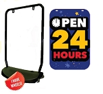 Single Sided Swing Sign Kit - OPEN 24 HOURS
