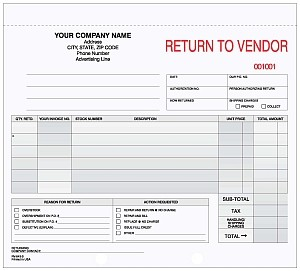 RV-643-3 3-Part Return To Vendor Form