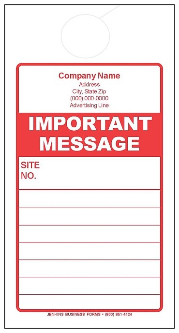 Red Important Message Door Hanger