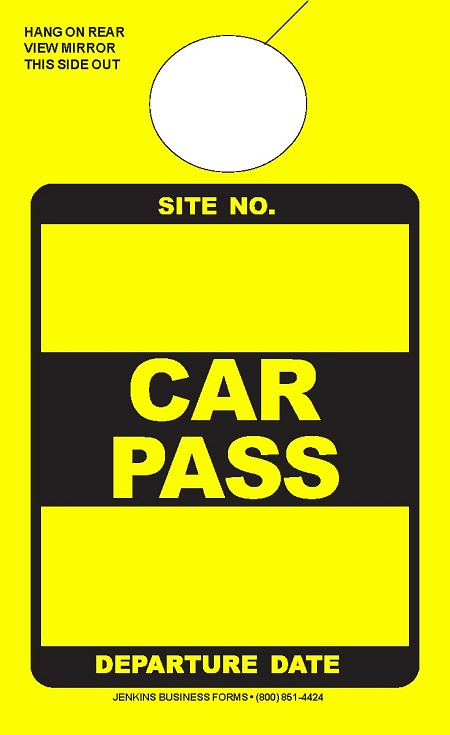 High Visibility Yellow Car Pass