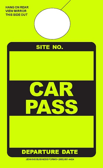 High Visibility Lime Car Pass
