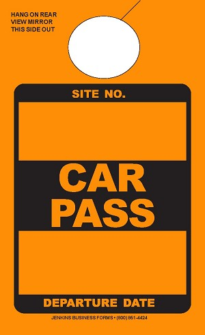 High Visibility Orange Car Pass
