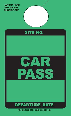 High Visibility Green Car Pass