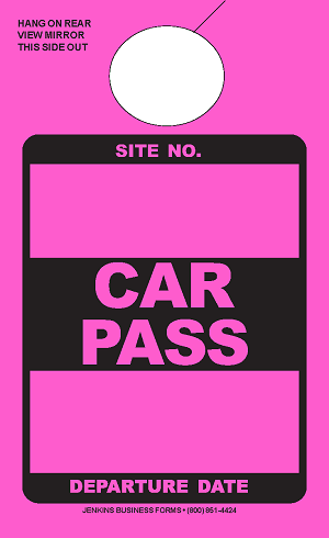 High Visibility Pink Car Pass