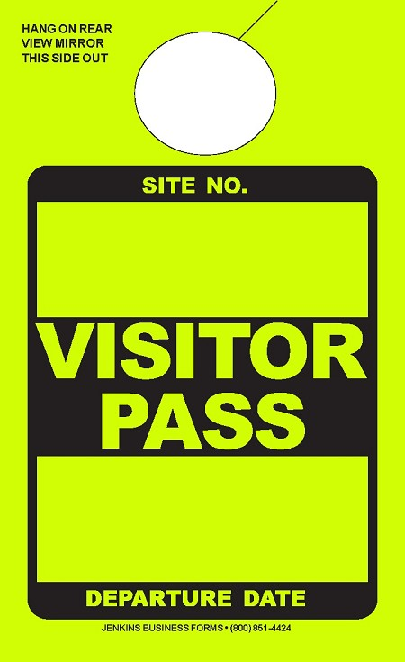 High Visibility Lime Visitor Pass