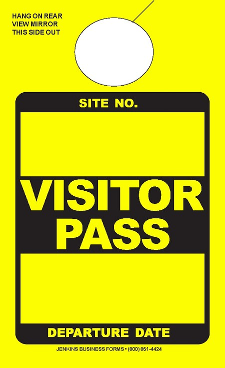 High Visibility Yellow Visitor Pass